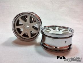 1:10 Wheel Set Silver outline, white inner with hex fitted 303E (2 pieces)