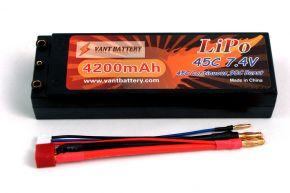 7.4V 4200mAh 45C bullet hard case LIPO battery with T plugs