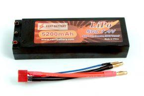 7.4V 5200mAh 50C bullet hard case LIPO battery with T plugs