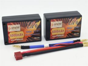 7.4V 6000mAh 100C saddle hard case LIPO battery with T plugs