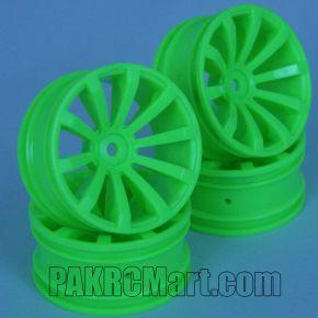 1:10 Wheel Set - Green 10 spokes 6mm Offset (4 pieces) - 603