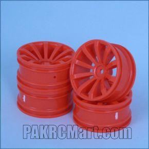 1:10 Wheel Set - Orange 10 spokes 6mm Offset (4 pieces) - 604