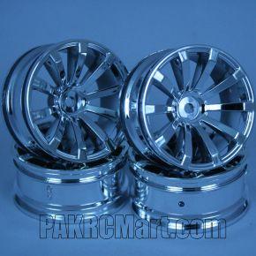 1:10 Wheel Set - Silver 10 spokes 6mm Offset (4 pieces) - 605