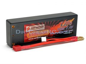 7.4V 6500mAh 2S Cell 100C-200C HardCase LiPo Battery Pack w/ 4mm Bullet & Deans Ultra Connector