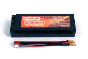 7.4V 6500mAh 75C bullet hard case battery with T plugs