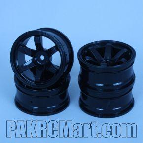 1:10 Wheel Set - Black 6 spokes (4 pieces) - 701