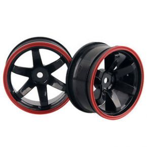 1:10 Wheel Set - Black Red Out-line 6 spokes 6mm Offset (4 pieces) - 701A