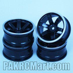 1:10 Wheel Set - Black White Out-line 6 spokes 6mm Offset (4 pieces) - 701B