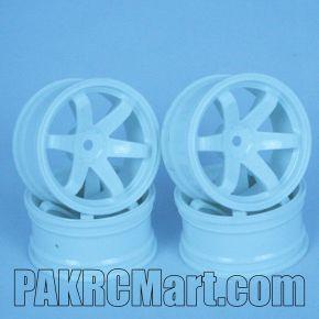 1:10 Wheel Set - White 6 spokes (4 pieces) - 702