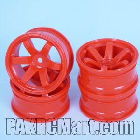 1:10 Wheel Set - Orange 6 spokes (4 pieces) - 704