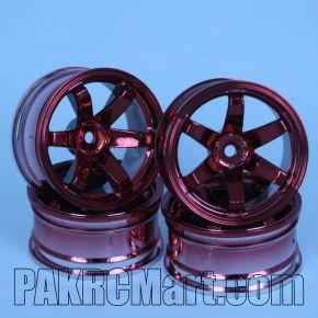 1:10 Wheel Set - Red 6 spokes (4 pieces) - 707