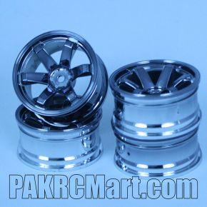 1:10 Wheel Set - Dark Silver 6 spokes (4 pieces) - 710