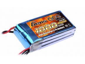 1000mAh Gens Ace 25-50C 3S1P 11.1V Lipo Battery Pack