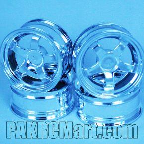 1:10 Wheel Set - Silver 5 spokes 3mm Offset (4 pieces) - CF-2001