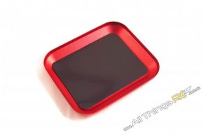 Aluminium Screw Tray with Magnetic Base (Red)