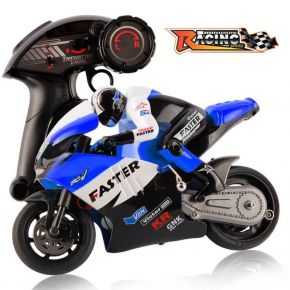 JXD 806 BLUE COLOR 2.4GHz Radio Control 1 / 16 Scale Motorbike with Inertia Wheel Device + Realistic Shock Absorber