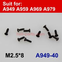 Wltoys A949 A959 A969 A979 Screws 2.5x8mm 10Pcs A949-40